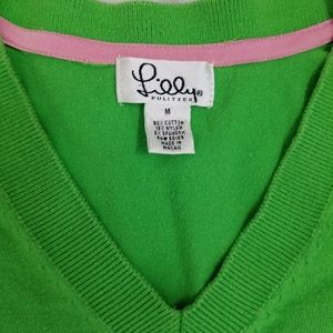 Lilly Pulitzer Sweaters - Green Lilly Pulitzer Logo V-Neck Sweater